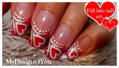Valentine´s Day Nails | Red Heart Nail Art | French Tip Nails ♥