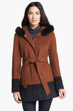 ce9bfd2d3e2c Ellen Tracy Genuine Fox Fur Trim Hooded Coat available at  Nordstrom Maxi  Coat