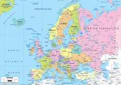 Large Detailed Map of Europe | Large detailed political map of Europe with roads. Europe large ...