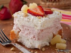 Heavenly Freezer Cake - creamy strawberry center with a surprising tropical twist topping.