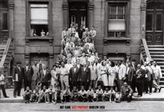 A Great Day in Harlem 57 Jazz Legends! 1958 black & white group portrait of 57 notable jazz musicians photographed in front of a Brownstone in Harlem, New York City. The photo has remained an important object in the study of the history of jazz ~AMEN~ Jazz Artists, Jazz Musicians, Music Artists, Harlem Renaissance, Renaissance Image, Renaissance Fashion, Basquiat, Count Basie, Harlem New York