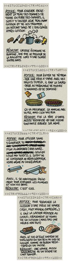 """Cuisson Conseils seconde partie - tiré de """"A boire et à manger"""" Le blog de Guillaume Long, illustrateur - http://long.blog.lemonde.fr/2012/11/03/cooking-tips-research-inc-seconde-partie/"""