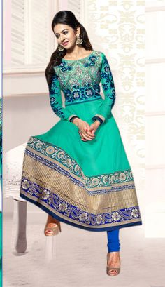 Rakul Preet Singh Georgette resham embroidery based Dress Material - JustKartIt