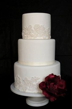 wedding cakes with lace trim ribbons | Buttercream with a fondant lace trim, maybe with some fondant pearls ...