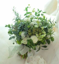 Lush Green & White Wedding Bouquet Which Includes: White Ball Dahlias, Green Trick Dianthus & A Variety Of Coordinating Florals & Foliage