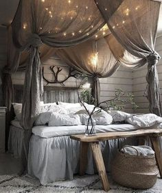 Rustic canopy beds, bed canopy diy, rustic romantic bedroom, bed ca Home Decor Bedroom, Home Bedroom, Master Bedroom Design, Bedroom Design, Rustic Master Bedroom, Master Bedrooms Decor, Bedroom Diy, Living Decor, Home Decor