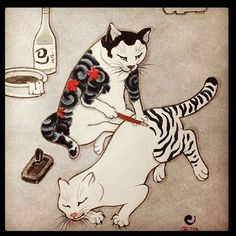 Tattoo Cat vintage feline illustration