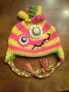 Monster Ear-Flap Hat Girly-Girl Toddler Hat