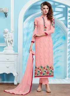 Buy Online Designer Pant Suit or shuits Rose Pink Color, Georgette and Santoon material, Nazneen Dupattas, Party Wear, Kitty Party Wear, Casual wear, Festival Wear for women, Pant Suits, Pant suit, shuits for women. We have large range of Designer Pant suits in our website with the best pricing and unique designs shipping to (UK, USA, India, Germany, UAE, Canada, Singapore, Australia, Mauritius, New Zealand) world wide.