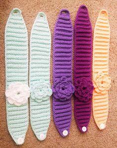 New Crochet Jewelry Patterns Flower Headbands Ideas Crochet Jewelry Patterns, Crochet Hair Accessories, Crochet Headband Pattern, Knitting Patterns, Crochet Crafts, Crochet Projects, Crochet Stitches, Knit Crochet, Crochet Flowers