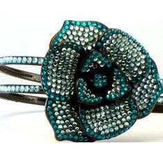 Bling Bling! Flower Headband with Light Blue - Teal Rhinestones. Perfect for Women, Teens & Girls, Bling Bling Hair Accessory