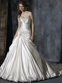 Enchanting Strapless Beads Working Pleated Taffeta Chapel Train Ball Gown Wedding Dress