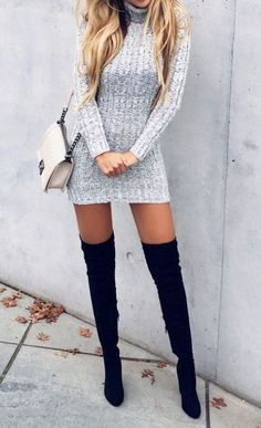 This thigh high boots outfit is perfect for fall and winter! This thigh high boots outfit is perfect for fall and winter! Edgy Outfits, Winter Fashion Outfits, Cute Casual Outfits, Trendy Fashion, Dress Outfits, Fall Outfits, Casual Dresses, Christmas Outfits, Christmas 2019
