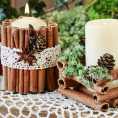 DIY Christmas Decorations: Tips On How To Create Winter Holiday Spirit Using Regular Candles Christmas Mood, Christmas Candles, Christmas Centerpieces, Christmas Crafts, Christmas Ornaments, Winter Holiday, Outside Christmas Decorations, Natal Diy, Homemade Candles