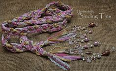 Luxury handfasting cord in pink, ivory and gold with lace, velvet and Moroccan braid. Decorated with pearls, Swarovski crystals and hand painted beadwork. By BindingTies, £105.00