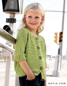 pattern knit crochet kids jacket spring summer katia 6766 27 p Crochet Shoes Pattern, Knit Cardigan Pattern, Crochet Cardigan, Knit Crochet, Free Knitting Patterns Uk, Sweater Knitting Patterns, Free Pattern, Summer Knitting, Knitting For Kids