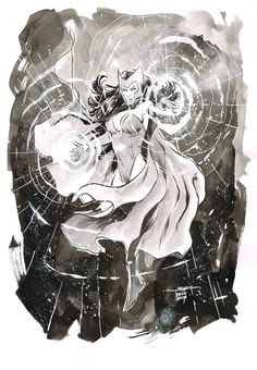 Day 20 - Scarlet Witch inkwash on A4 canson paper