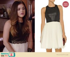 Aria's black and white leather dress on Pretty Little Liars.  Outfit Details: http://wornontv.net/35883/ #PLL