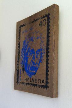 Silk Screen on Old Wood    Einstein Stamp $30.00