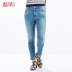 Find More   Information about 2015Fashion plus size clothing spring and autumn blue slim elastic bleached ripped washed  hole jeans female skinny pencil pants,High Quality  ,China   Suppliers, Cheap   from Kamy Larger-Size Home on Aliexpress.com