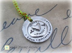 Personalized Hand Stamped Ornament  by andiestevensdesigns on Etsy, $40.00  #andiestevensdesigns #andiestevens #handstamped #handstampedornament #personalizedgift