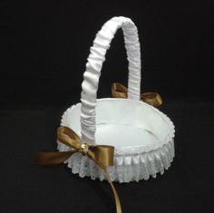CE_56 Cesta Blanco Dorado # bodas para arras anillos o petalos