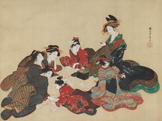 Teisai Hokuba (Japanese, 1771–1844) | Women Playing a Poetry-matching Card Game |