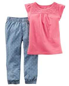From the classroom to the playground, printed chambray joggers and a flutter sleeve top make a classic outfit combo.