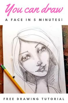 Have you always wanted to learn how to draw & shade a whimsical female face? It's easier than you . Eye Drawing Tutorials, Drawing Tips, Art Tutorials, Fairy Drawings, Eye Drawings, Nose Drawing, Profile Drawing, Karen Campbell, Drawing Journal