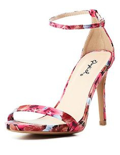 Qupid Floral Single Strap Heels