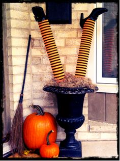 How to Make Halloween Pool Noodle Witches Legs by Leigh-Ann Allaire- Love this!