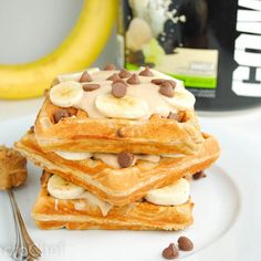 Peanut Butter Banana Chocolate Chunk Waffles with #MP Combat! Tag a friend and enjoy!  #musclepharm #mp #GoSupps
