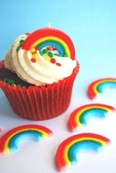 Rainbow Edible Cupcake or Cake decorations 12 by CupcakeSocial. $3.50, via Etsy.