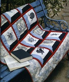 FREE Point Cross Blue Bedspread with embroidery. 1-8