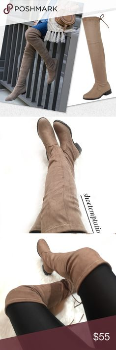 """Taupe over the knee boots Description These over the knee boots feature a soft vegan suede, low block heel, round toe, and a drawstring collar that ties at the back for custom fit.                ❤️BOUTIQUE BRAND ❤️ Color: Tan  Material: Vegan Suede (man-made) Sole: Synthetic Measurement Heel Height: 1"""" (approx) Shaft Length: 24.75"""" (including heel) Top Opening Circumference: 16"""" (approx).           •Brand name is just for exposure Stuart Weitzman Shoes Over the Knee Boots"""