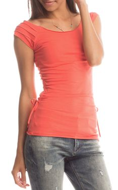 Bali Stitch Layla Top in Coral by Synergy Organic Clothing