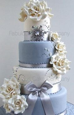 Contemporary Ivory & Grey Wedding Cake Fabulous Cake Company