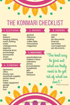 The KonMari Checklist - A simple checklist to help you get started with the KonMari method!  #konmari #hygge