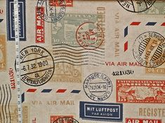 Travel fabric postage stamp mail yardage available French German airmail red blue gold green