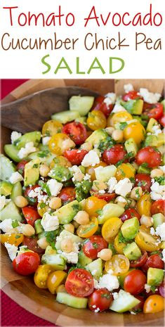 Tomato Avocado Cucumber Chick Pea Salad with Feta and Greek Lemon Dressing - LOVED the flavor of this salad! I ate two bowls of it for lunch!