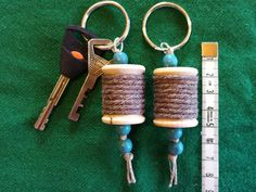 Keychain wooden spool by ChezMaRiia Wooden Spools, Wooden Beads, Stitch Markers, Key Rings, Craft Supplies, My Etsy Shop, Personalized Items, Unique Jewelry, Handmade Gifts