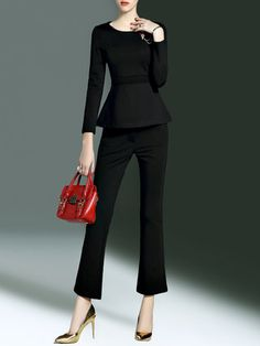 Long Sleeve Cotton-blend Elegant Two Piece Ruffled Jumpsuit