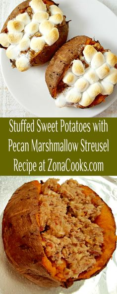 Stuffed Sweet Potatoes with Pecan Marshmallow Streusel Recipe - These stuffed sweet potatoes for two have rich sweet potatoes covered in a delicious marshmallow, brown sugar, and pecan streusel topping. Cook the potatoes in your crock pot slow cooker or follow the directions for baking them. This is the perfect Fall, Winter, and cool Spring side dish. Try it with your intimate Thanksgiving dinner. #SweetPotatoes #streusel #SideDishForTwo #RecipesForTwo #DinnerForTwo #Thanksgiving Sweet Potato Pecan, Streusel Topping, Thanksgiving Side Dishes, Crock Pot Slow Cooker, Meals For Two, Healthy Recipes, Healthy Meals, Side Dish Recipes, Marshmallow
