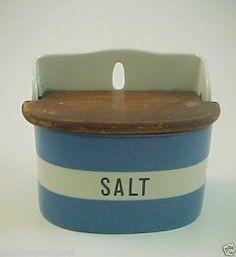 Antique T G Green Blue White Cornishware Art Pottery Wall Mounted Salt Box w Lid