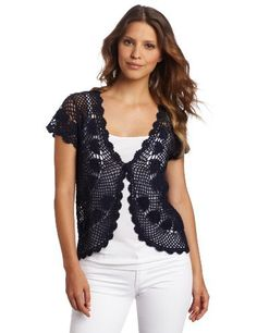 Jones New York Women's Hand Crochet Cardigan Jones New York. $44.50. Open weave crochet. Knit medallion details. Hand Wash. 55% Ramie/45% Cotton
