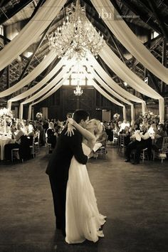 Barn Weddings: Reception Seating  Arranging your tables so that you can have a dance floor is a great idea.