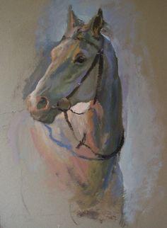 Head study of horse, oil on card, 70.5cm x 51.5cm