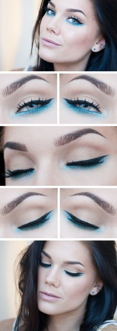 BangerBeauty: Linda Hallberg- Winged Eyeliner w/Blue Shimmer on Bottom Line http://amzn.to/2u16a6j