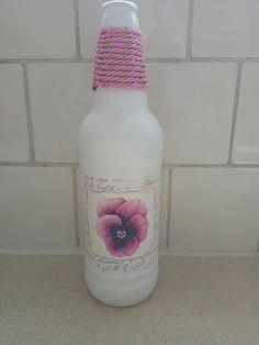 Facebook Sign Up, Decoupage, Bottle, Decorated Bottles, Flask