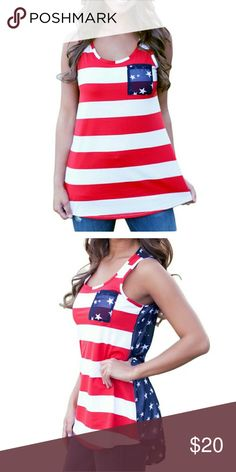 NEW Item Adorable American Flag Tank Top NEW Item Adorable American Flag Tank Top. Show some spirit! Great for Holidays or anytime to show USA some love. Front 50% cotton 50% polyester. Back is easy breezy light chiffon. Size L = US 8-10. Bust 42 Length 28.5 M= US 8-10 Bust- 40 Length 28. Allowing 2cm difference. I kept one for myself! Very comfy! Only two left Boutique Tops Tank Tops